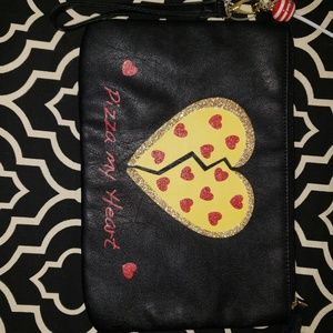 *2 FOR $25* LUV BETSEY PIZZA MY HEART Wristlet EUC